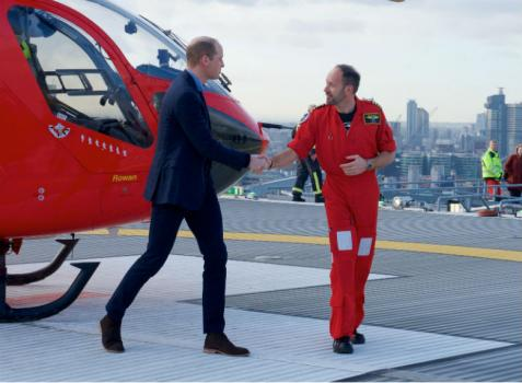 HRH Duke of Cambridge visits helipad