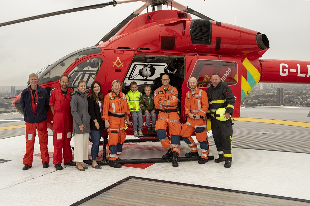 Catherine's family at London's Air Ambulance Charity helipad