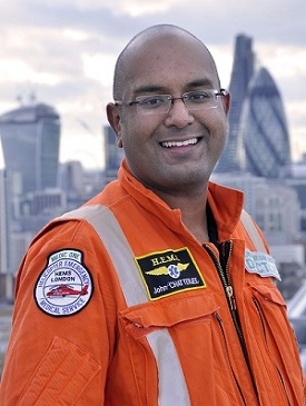 Dr John Chatterjee in London's Air Ambulance flying suit