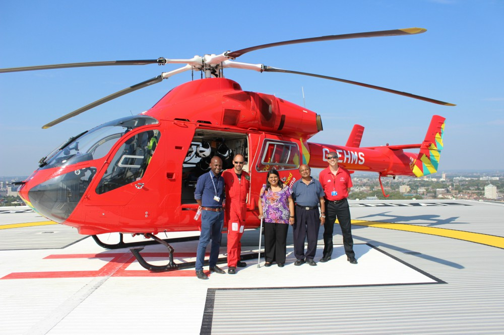 Sonal on the helipad
